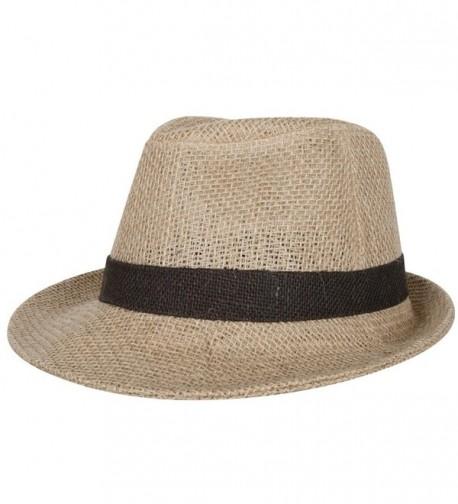 ililily Color Blocking Hatband Loose Linen Fedora Hat Solid Color Basic Trilby - Beige - CS11LE71NBF