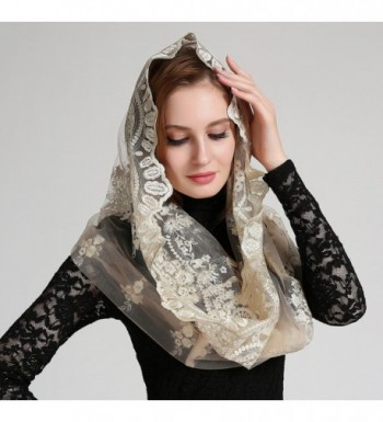Extravagant Catholic Chapel Mantilla Champagne in Fashion Scarves