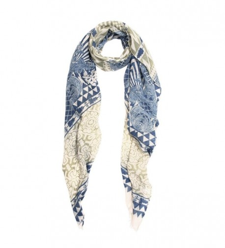 IvyFlair Vintage Floral & Geometric Print Bohemian Fashion Scarf Shawl Wrap - Olive/Blue - C712O3MJ5W8