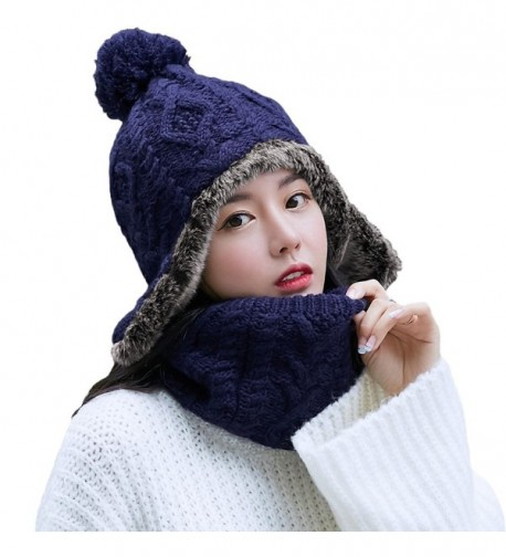 SIGGI Wool Peruvian Earflap Beanie Hat Fleece Lined Winter Snow Ski Hat Ladies - 89216_navy - C4188Q36ETD