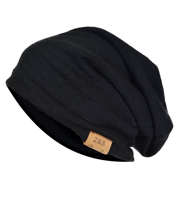 Wimdream Slouch Beanie Hat For Men Stripe Warm Skull Caps Oversized B306-3D - B010b-black - CU18652S6Z0