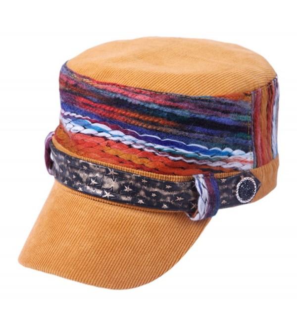 ff672328f700d Women s Baseball Cadet Cap Flat Top Hat Adjustable With Star Leather Radar  Caps - Yellow -