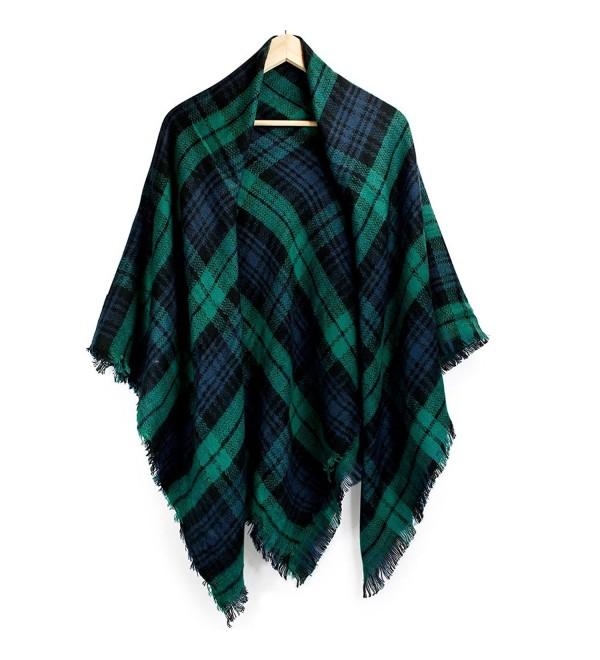 Oct17 Women Cashmere Like Scarf Plaid Winter Shawl Wrap Scarves Fashion Large - Green - CH1889YNY47