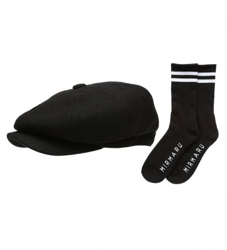 Men's Premium 8 Panel Wool Blend newsboy IVY Hat With Socks. - Black - CZ12IGP281V