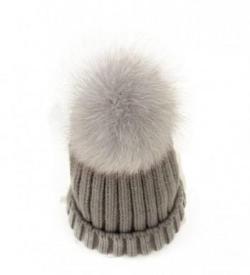 FUNNY365 Womens Knitted Hat Fox Fur Pom Pom Warm Slouchy Beanie Cap - Gray - CF188NI8LQ6