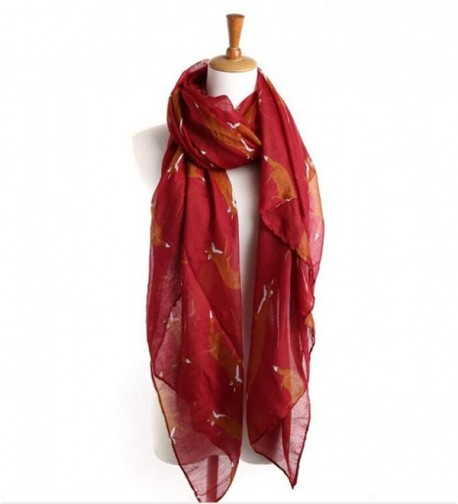Lightweight Shawls Printed Chiffon Scarves - Wine Red - CF186MLN94D