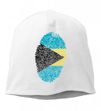 WLF Unisex Bahamas Flag Fingerprint Fashion Soft Daily Beanie Hat Skull Cap - White - CN188E44IX5