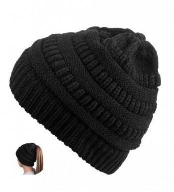 TONLION Women Girl Stretch Knit Hat Messy Bun Ponytail Beanie Holey Warm Hats Winter - Black - C4189WW43C4