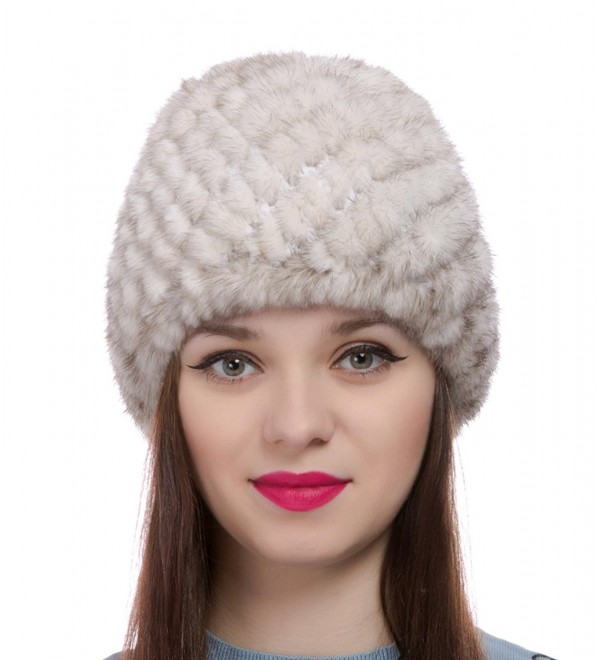 Womens Girls Knitted Real Mink Fur Hat Winter Beanie Warm Cap - Beige - CI12O89O9J5