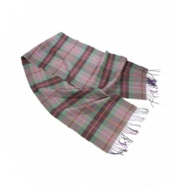 Wool Scarf 100% Merino Lambswool Purple & Green Plaid Irish Made - CT17AZID6LW