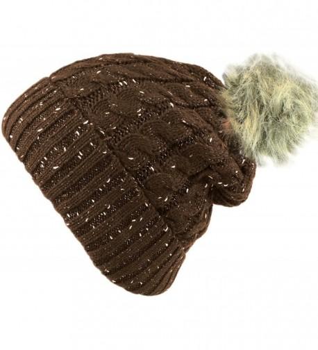 bogo Brands Fleece Lined Knit Beanie Hat with Faux Fur Pom Pom - 001 - Brown - CW188DOSNGQ