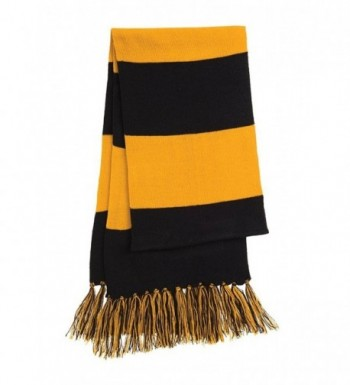 Dri-Wick Knit Stripe Scarf with Fringe - Black/Gold - CI18882IGTE