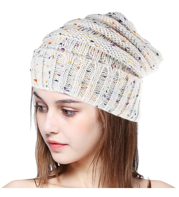 BiBOSS Cable Knit Beanie Winter Hats Unisex Leisure Warm Knit Hat Skull Cap Beanie Hat - Ivory - CE189COW92M
