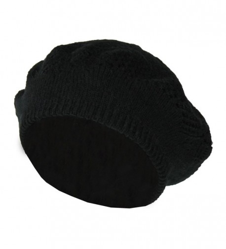 Winter Knit Pointelle Lace Beret Hat- Classic Slouchy Beanie Cap - Soft Stretch - Black - CT1868C6MR8