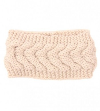 Evaliana Winter Crochet Headband Braided Twist Hairband Yarn Ear Warmer Headwrap - Beige - C512N0HC5CM