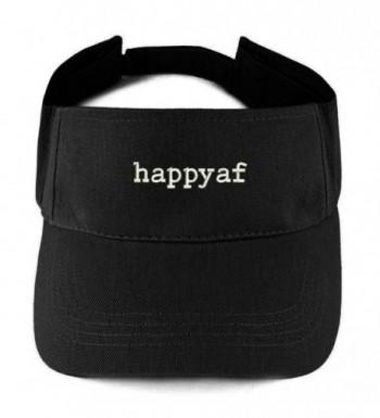 Trendy Apparel Shop happyaf Embroidered 100% Cotton Adjustable Visor - Black - CD17Z3QGXGI