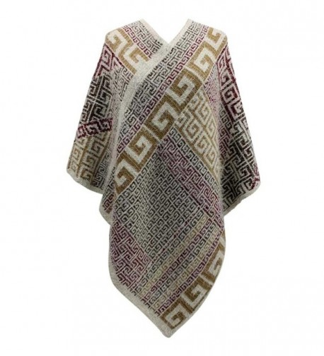 Beige Multicolor Greek Pattern Thick Knit Poncho - CZ126OPIP8Z