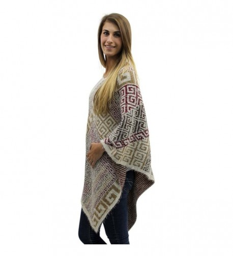 Beige Multicolor Greek Pattern Poncho