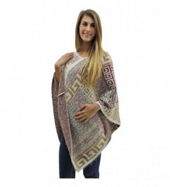 Beige Multicolor Greek Pattern Poncho in Wraps & Pashminas