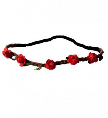 Festival Paper Roses Headband Leather Woven Floral Hair Band Flower Bridal Crown Hair Wedding Garland - Red - CF11X6YWKYN