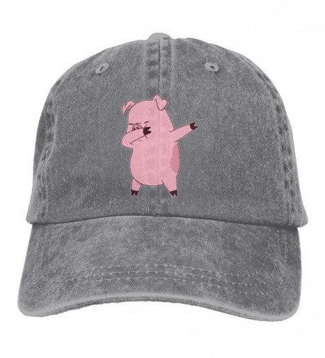 Men's Or Women's Pig Dabbing Yarn-Dyed Denim Baseball Hat Adjustable Trucker Cap - Ash - C2187W487D7