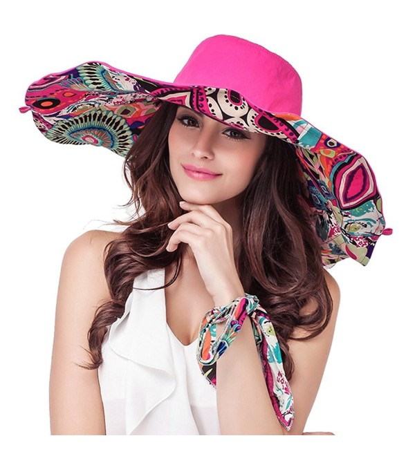 YoungLove Reversible Wide Large Brim Summer Hat Packable Floppy Sun Hat UPF50+ - 7934_rose - C01805QNLN7
