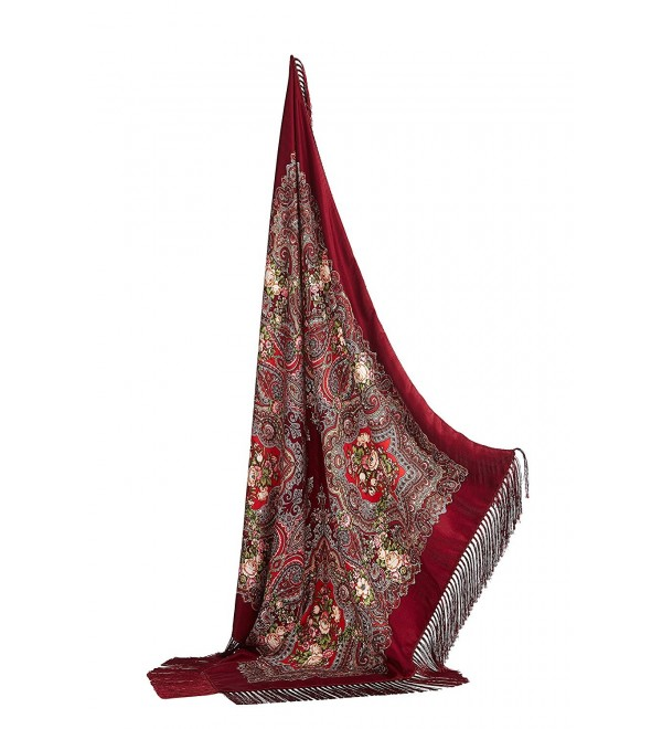 "Ladies Floral Shawl With Tassels Ukrainian Polish Russian Square Scarf 44"" x 44 - Venetian Red - CG17YLQ6MUW"