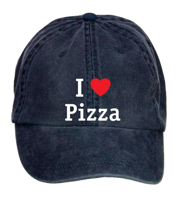 Woqucoo Vintage I Love Pizza Washed Cotton Baseball Cap Adjustable Hat - Navy - CA12N2540MC