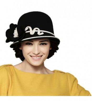 Maitose Women's Wool Felt Bowler Hat Black - CX126NOCVYL