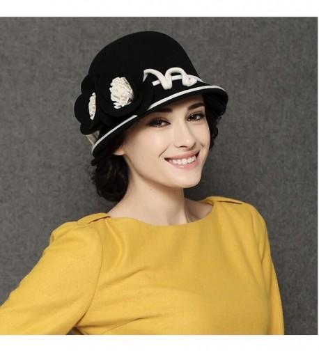 MaitoseTM Womens Wool Bowler Black