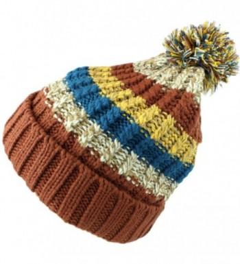 bogo Brands Fleece Lined Knit Pom Pom Beanie Hat Skull Cap 38350-2 by - Brown - CG188DQ99ZI