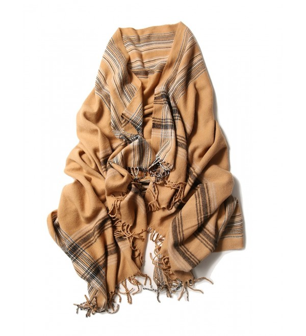 Wool Scarf Shawl Oversize Blanket Cashmere Feel Scarves And Wraps For Men And Women - Caramel Plaid - CY12L8EDUSH