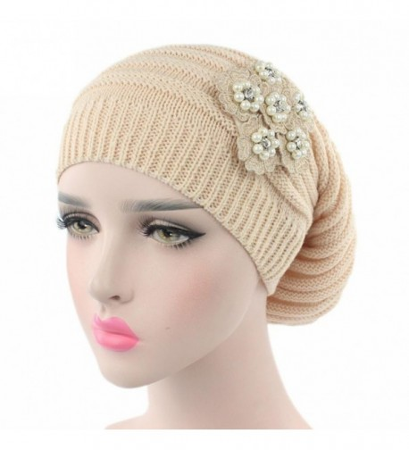 Elaco Women Ladies Knitting Cancer Hat Beanie Turban Head Wrap Cap Pile Cap - Beige - CP186IHX575
