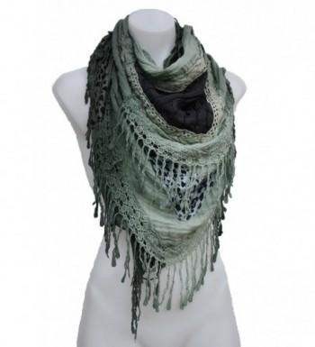 Terra Nomad Women's Knit & Cotton Fringed Triangle Scarf Shawl - Olive - CD11U6HWWMN