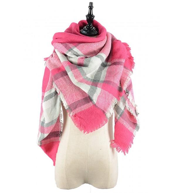 Durio Stylish Blanket Scarves Pashmina - Grey Pink Scarf - C21868HHCGU