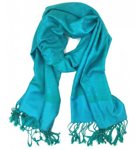 Plum Feathers Tapestry Ethnic Paisley Pattern Pashmina Scarf - Aqua-green Paisley - CU180ZCLTIY