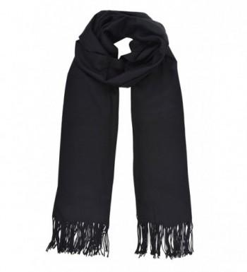 Women's Cashmere Like Fringe Blanket Shawl Scarf - Black - CT1202BFMUV