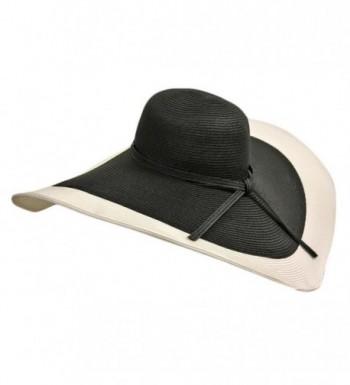 Black & White Floppy Hat With Wide Brim - CS11CHE3HIB