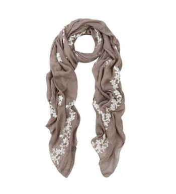Premium Elegant Lace Cherry Blossom Floral Embroidered Scarf Wrap - Diff Colors - Taupe - CD127J8A1BT