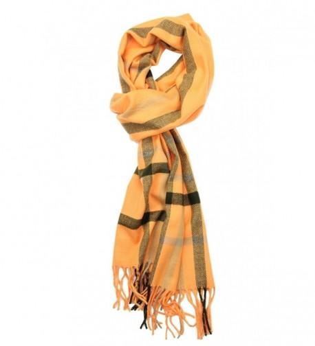 Achillea Classic Cashmere Feel Tartan Plaid Checked Winter Warm Scarf Unisex - Orange With Black - CT186ACTGS2