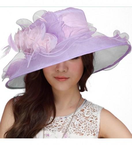 June's Young Women Hat Kentucky Derby Cute Floppy Ruffle - C411U8JQT8R