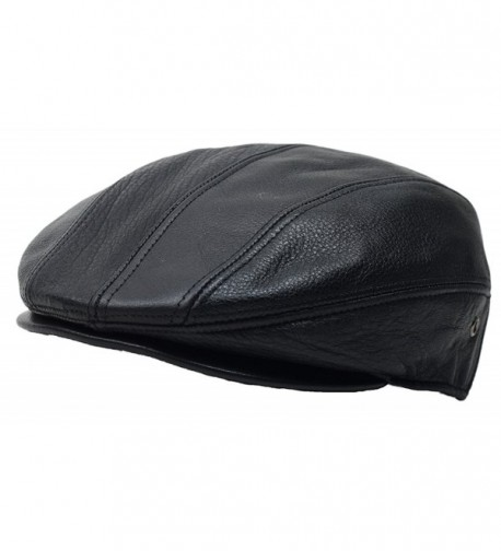 Black Genuine Leather Gatsby Flat Cap Ivy Newsboy Driver Hat Cabbie - CD12JSDOEDP