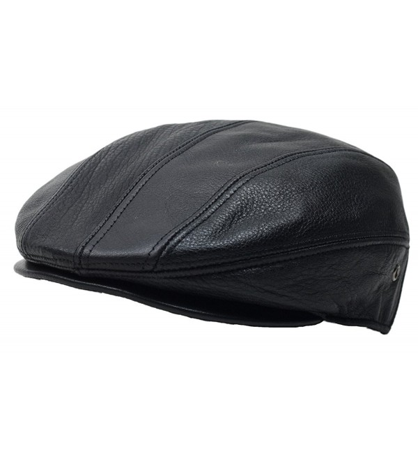 6a2a006416f Black Genuine Leather Gatsby Flat Cap Ivy Newsboy Driver Hat Cabbie -  CD12JSDOEDP