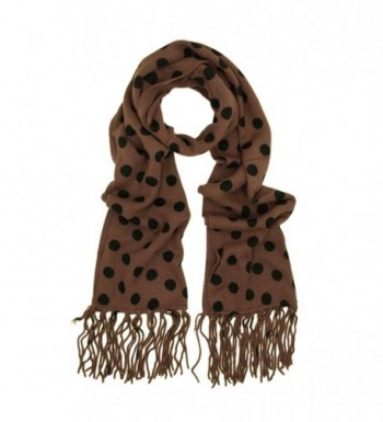 Classic Soft Knit Polka Dots Tassels Ends Long Scarf - Different Colors Available - Brown - CQ115RGCXOF