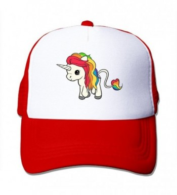 Kexiaos Rainbow Unicorn Baseball Snapback Cap Trainer Hat For Adult - Red - C712KMNNAHZ