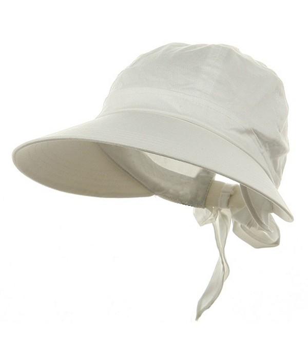 Ladies White Wide Brim Cotton Garden Beach Hat w/ Tie Back - C311RBPZ10N