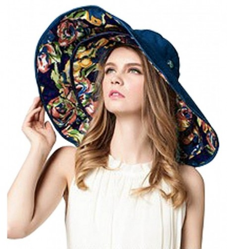 Women Large Wide Brim 2in1 Floppy Travel Beach Sun Visor Bucket UPF 50+ Hat Cap - Navy Blue- Flowers - CH12HXPYQNN
