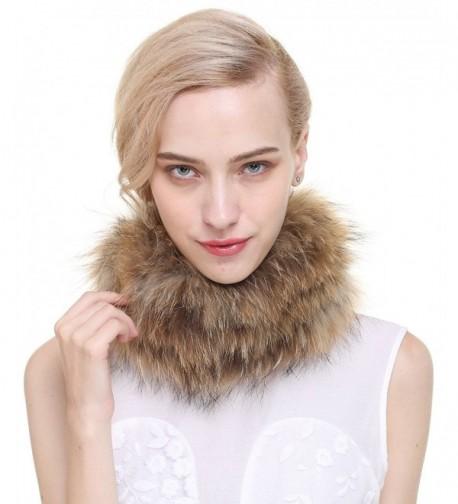 Vogueearth Women'Real Fox Fur Winter Headband Neck Warmer Scarf - Raccoon Nature Brown - CE12JKTCKM9