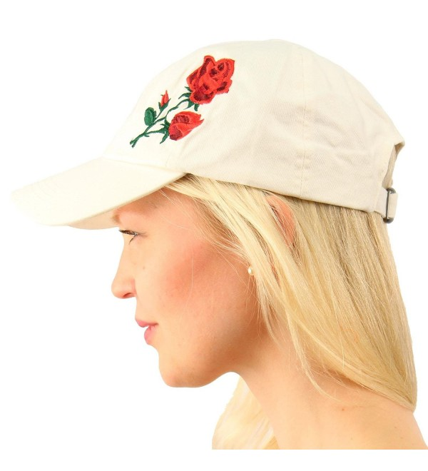 Cotton Rose Floral Embroidery Low Profile Baseball Sun Visor Cap Dad Hat - White - CY17YX6D66X