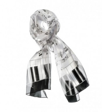 Music Note Scarf with Piano Key Edge in White - CW17YSURZ8G